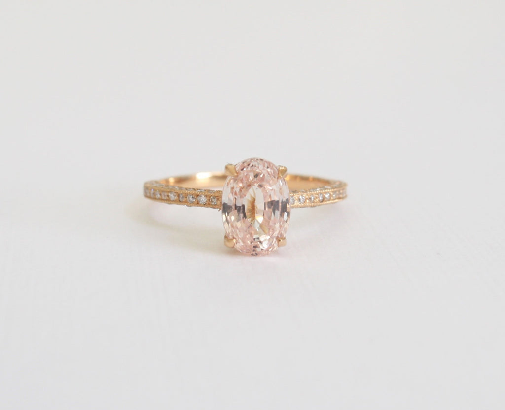 pink cushion champagne brown custom ring wedding rings diamond cut