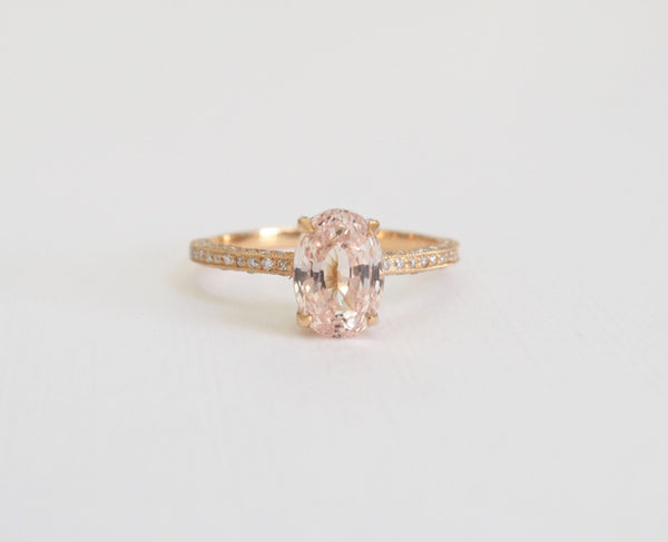 Oval Peach Champagne Sapphire Solitaire Diamond Engagement Ring in 18K Rose Gold