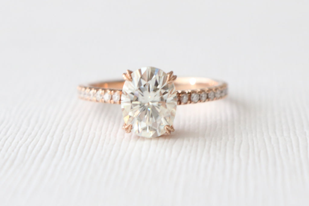 Oval Forever Brilliant Moissanite Solitaire Diamond Engagement Ring in 14K Rose Gold