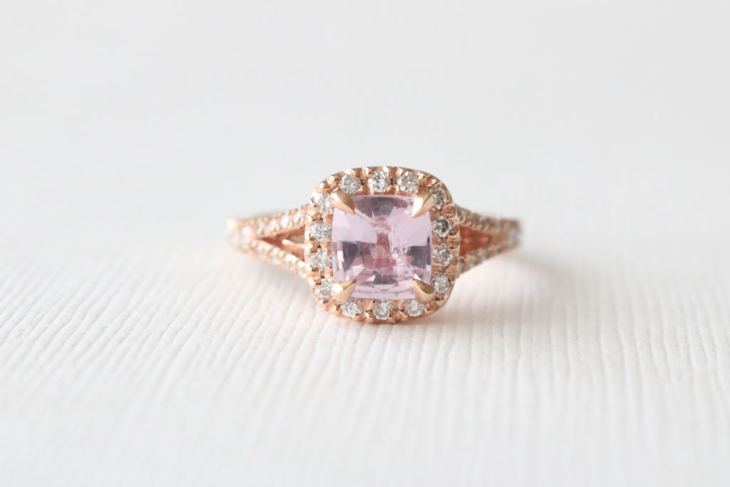 GIA Certified Cushion Light Pink Sapphire Diamond Halo Split Shank Ring in 14K Rose Gold