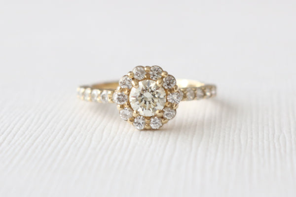 1.61 Ct. GIA Certified Round Diamond Halo Engagement Ring SET in 14K Yellow Gold