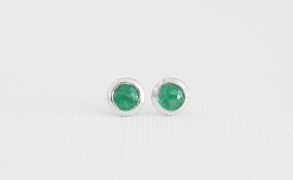 Colombian Emerald Bezel Stud Earrings in 14K Gold