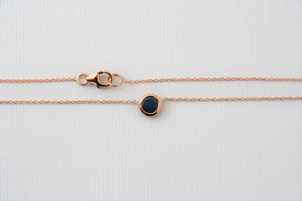 Solitaire Blue Opal Bezel Necklace in 14K Rose Gold