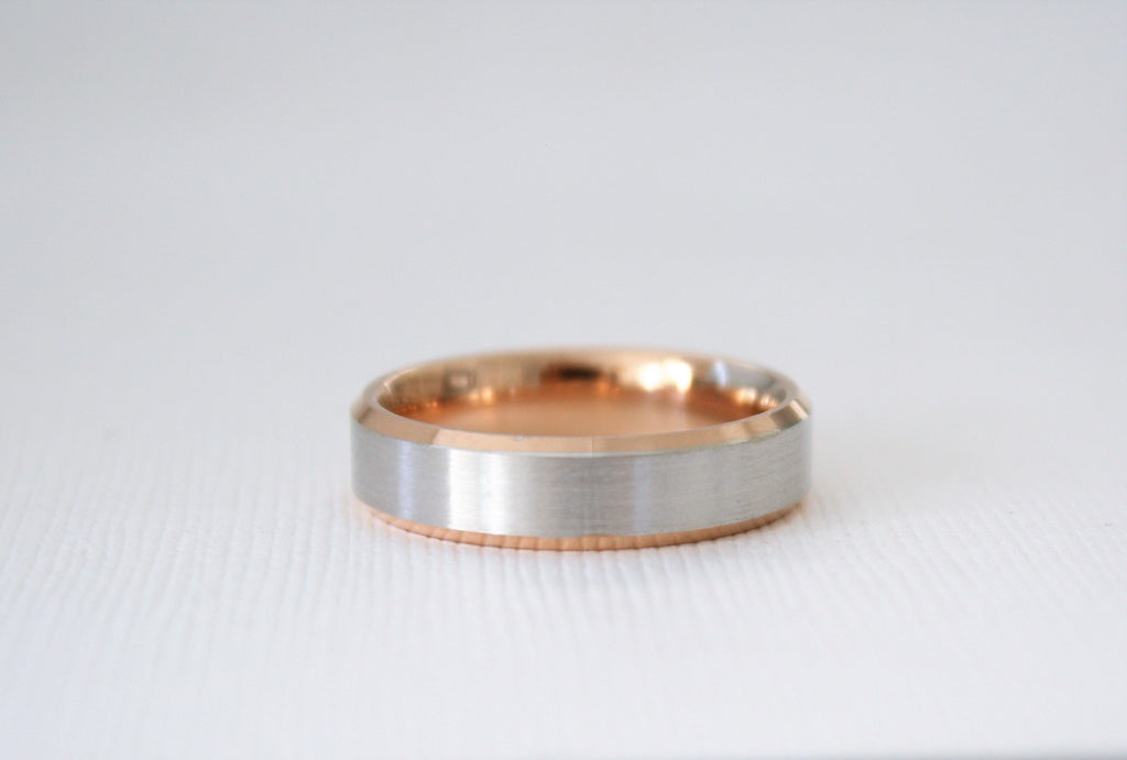 Handmade Beveled Men's Wedding Band in 14K Two Tone Rose and White Gold