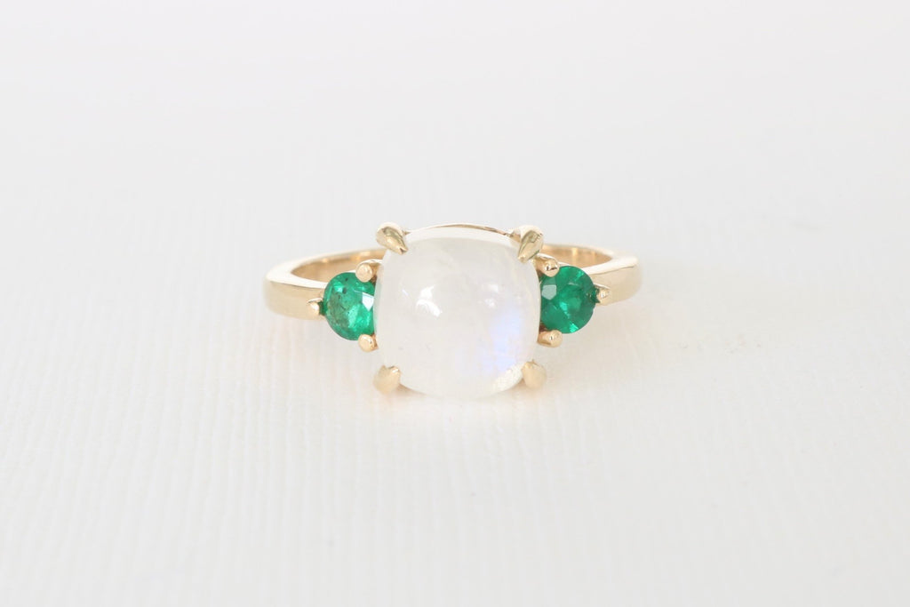 3 Stone Moonstone and Emerald Ring in 14K Yellow Gold