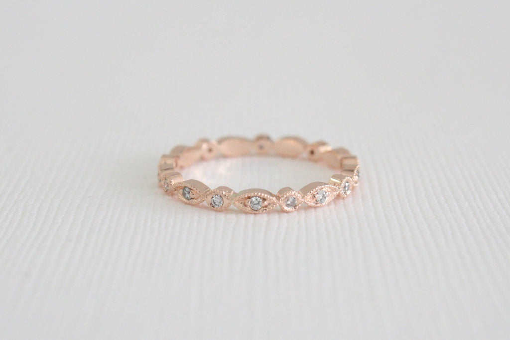2 mm Milgrain Eternity Diamond Bead Ring in 14K Gold