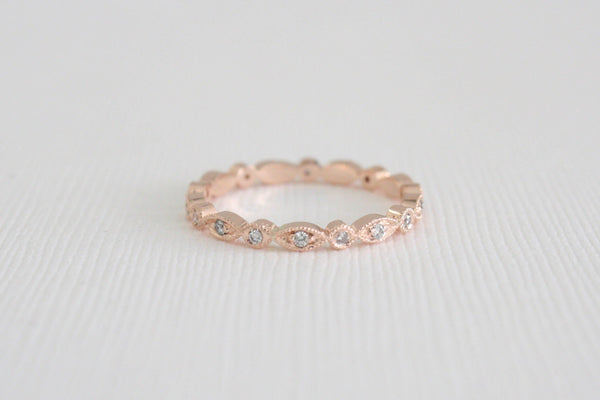 2 mm Milgrain Eternity Diamond Bead Ring in 14K Rose Gold