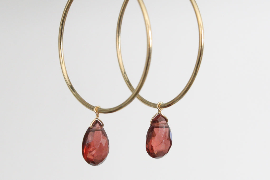 Red Garnet Dangle Hoop Earringsin 14K Gold