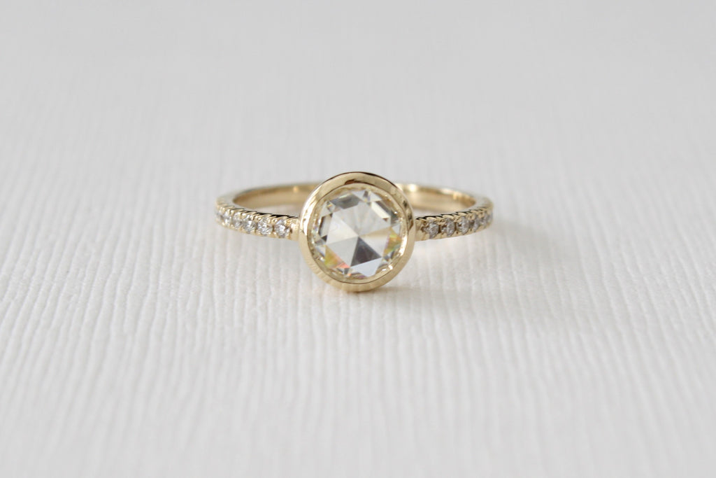 Rose Cut Moissanite Diamond Bezel Ring in 14k Yellow Gold