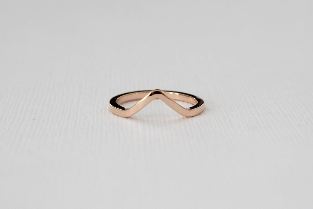 Solid Gold Chevron Midi Ring in High Polish Finish 14K Rose Gold