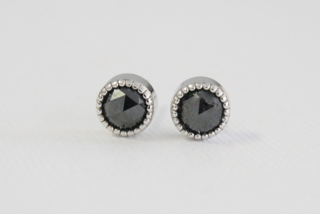 Milgrain Rose Cut Black Diamond Stud Earrings in 14K White Gold