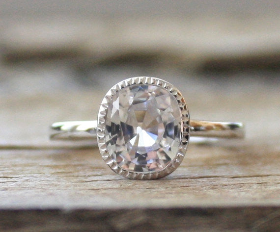 Cushion Solitaire White Sapphire in 14K White Gold