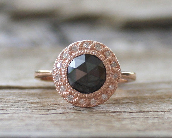 1.70 Ct. Black Diamond Rose Cut Milgrain Halo Ring in 14K Rose Gold