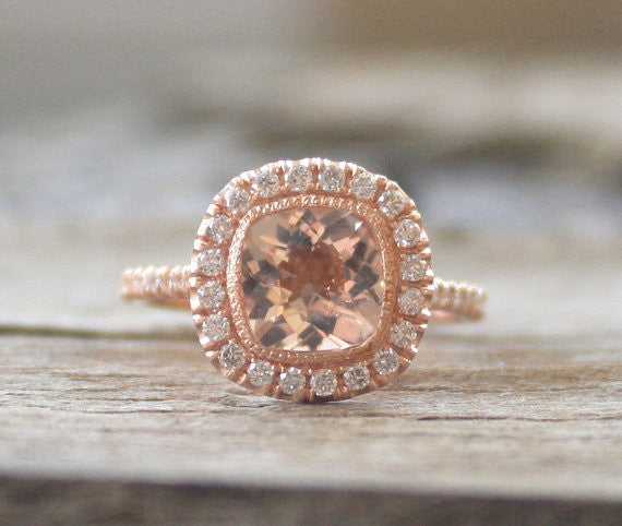 Cushion Morganite Diamond Halo Engagement Ring in 14K Rose Gold