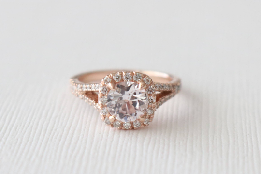 Round Peach Sapphire Split Shank Diamond Halo Engagement Ring in 14K Rose Gold