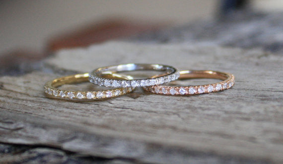 Set of 3 - 1.6mm Handmade Skinny Eternity Diamond Stacking Ring in 14K Gold