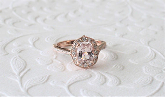 Cushion Brilliant Cut Peach Sapphire Diamond Halo Ring in 14K Rose Gold