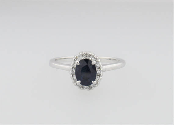 Oval Sapphire Diamond Halo Engagement Ring in 14K White Gold