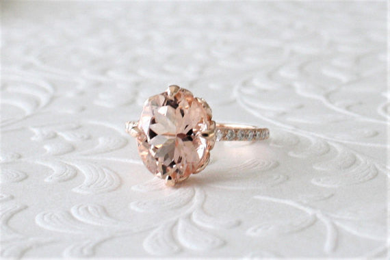 3.71 Cts. Oval Cut Morganite Solitaire Diamond Engagement Ring in 14K Rose Gold