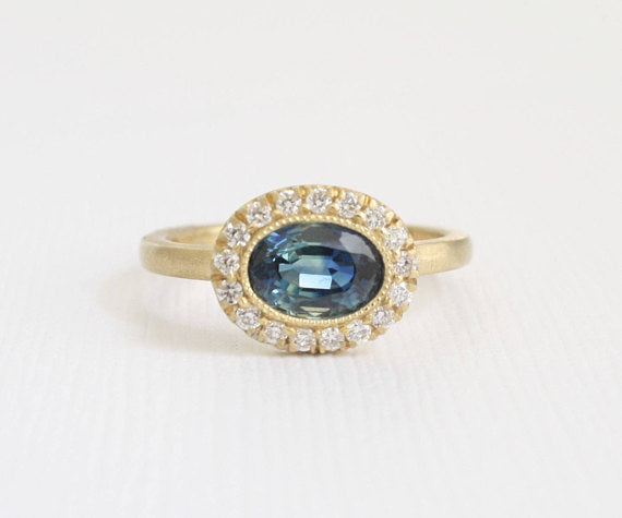 Oval Blue Green Sapphire Milgrain Bezel Halo Ring in 14K Matte Yellow Gold