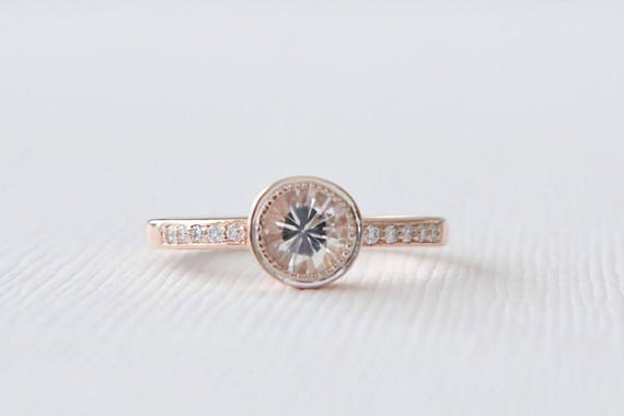 White Sapphire Milgrained Bezel Diamond Ring in 14K Rose Gold