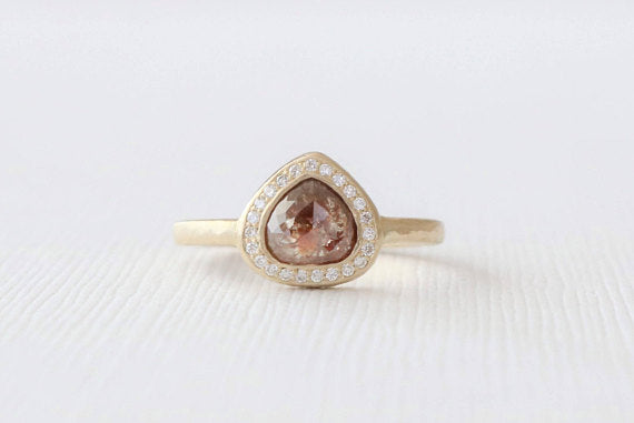Heart/Pear Shaped Rose Cut Champagne Diamond Bezel Ring in 18K Yellow Gold