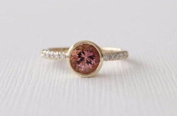 Pink Tourmaline Bezel Diamond Ring in 14K Yellow Gold