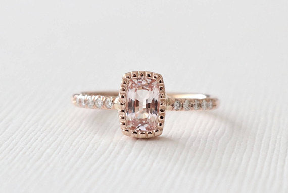 Rectangular Cushion Cut Peachy Pink Sapphire Milgrained Bezel Ring in 14K Rose Gold