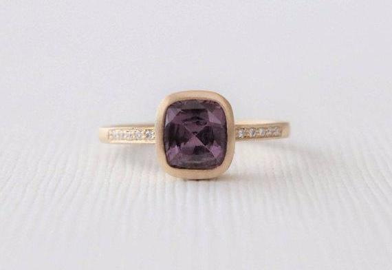 Cushion Purple Sapphire Diamond Ring in 14K Matte Yellow Gold