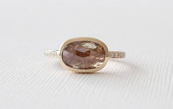 Rose Cut Cognac Brown Translucent Diamond Bezel Ring in 14K Yellow Gold