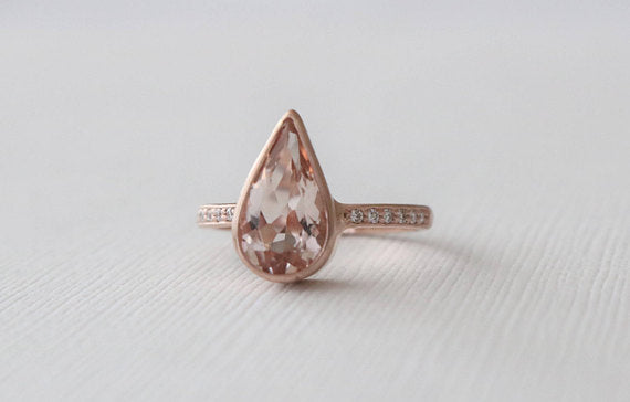 Peachy Pink Pear Shaped Morganite Bezel Diamond Ring in 14K Rose Gold