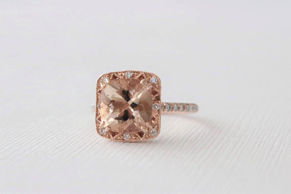 Cushion Morganite Diamond Pave' Halo Ring in 14K Rose Gold
