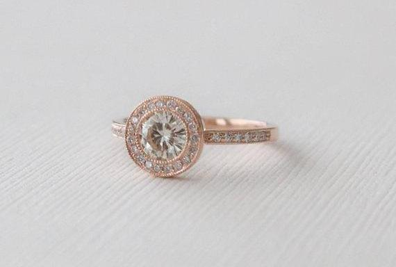 Forever Brilliant Moissanite Milgrain Bezel Diamond Halo Ring in 14K Rose Gold