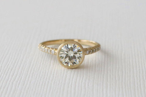 7mm Forever One Moissanite Bezel Diamond Ring in 14K Yellow Gold