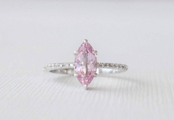 Marquise Shaped Pink Sapphire Solitaire Diamond Ring in 14K White Gold