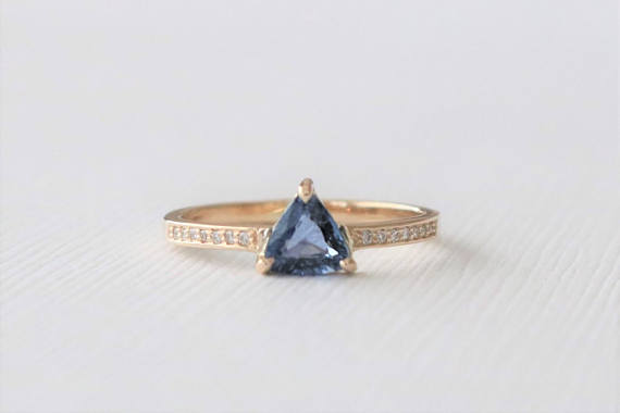 Trillion Cut Sapphire Diamond Ring in 14K Yellow Gold