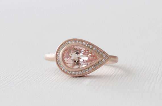 Pear Cut Morganite Bezel Diamond Ring in 14K Matte Finish Rose Gold