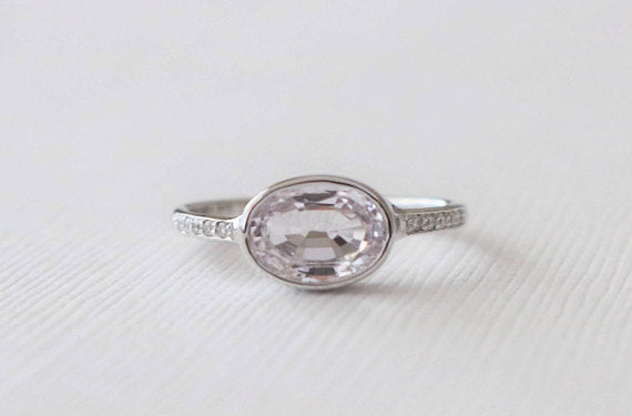 Oval Light Pink Sapphire Bezel Diamond Ring in 14K White Gold