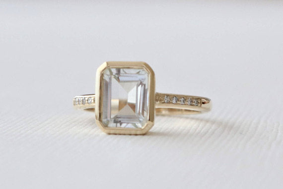 Emerald Cut White Topaz Bezel Ring in 14K Yellow Gold
