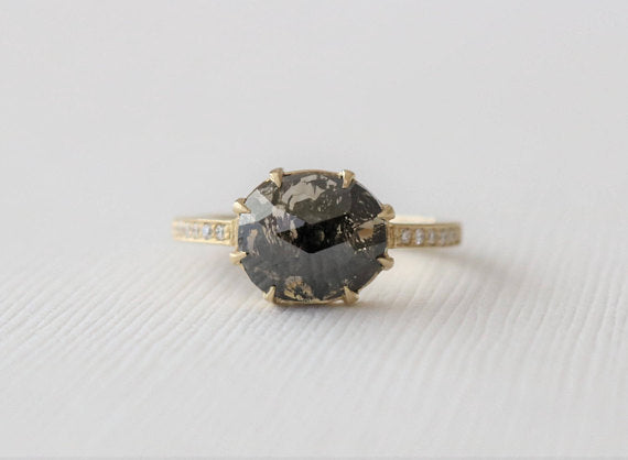 Rose Cut Translucent Black Galaxy Diamond Ring in 18K Yellow Gold