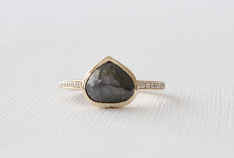 Heart Shaped Rose Cut Black Diamond Ring in 14K Yellow Gold