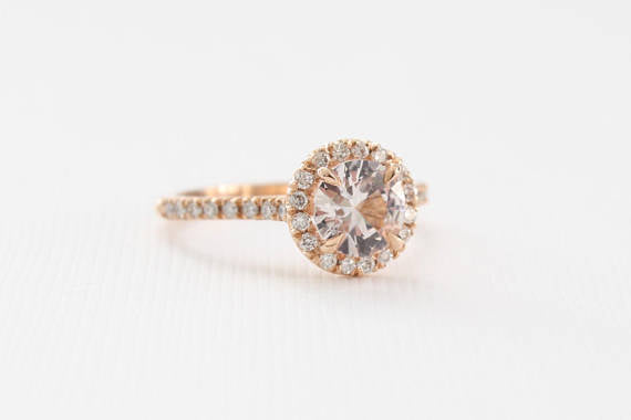 Round Brilliant White Sapphire and Diamond Halo Ring in 14K Rose Gold