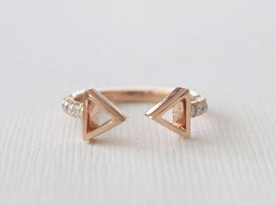 Cutout Triangle Cuff Diamond Ring in 14K Rose Gold