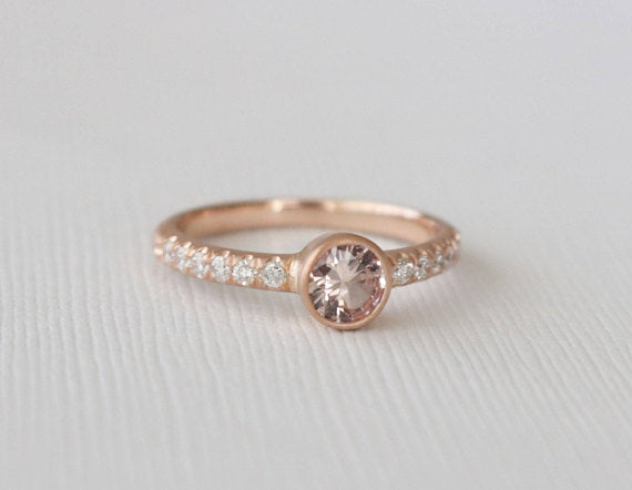 Round Peach Sapphire Bezel Diamond Ring in 14K Rose Gold