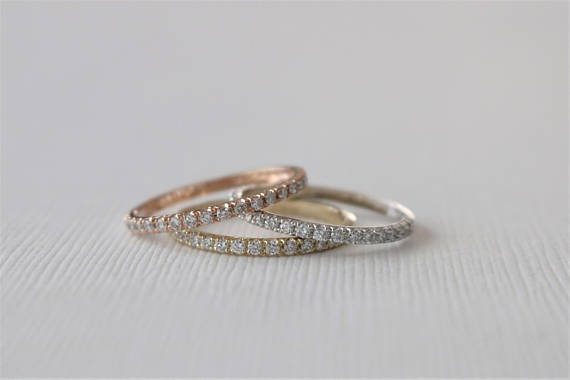 1.6 mm Handmade Skinny Half Eternity Diamond Stacking Ring in 14K Gold