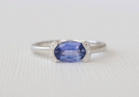 Oval Lavender Blue Sapphire Half Bezel Diamond Ring in 14K White Gold