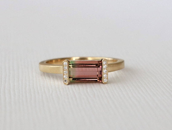 Watermelon Tourmaline Bar Diamond Ring in 14K Yellow Gold