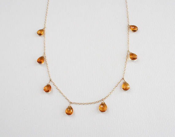 Citrine Pear Drop Necklace in 14K Yellow Gold