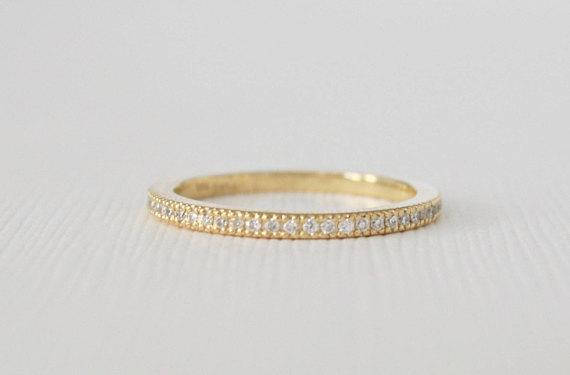 Handmade Pave' Eternity Diamond Stacking Ring in 14K Gold