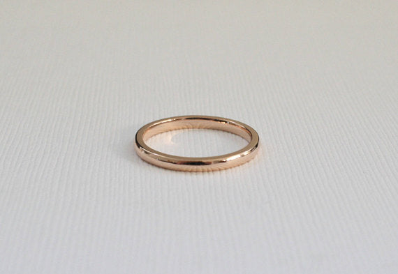 Handmade 14K Solid Gold Wedding Band in Rose Gold